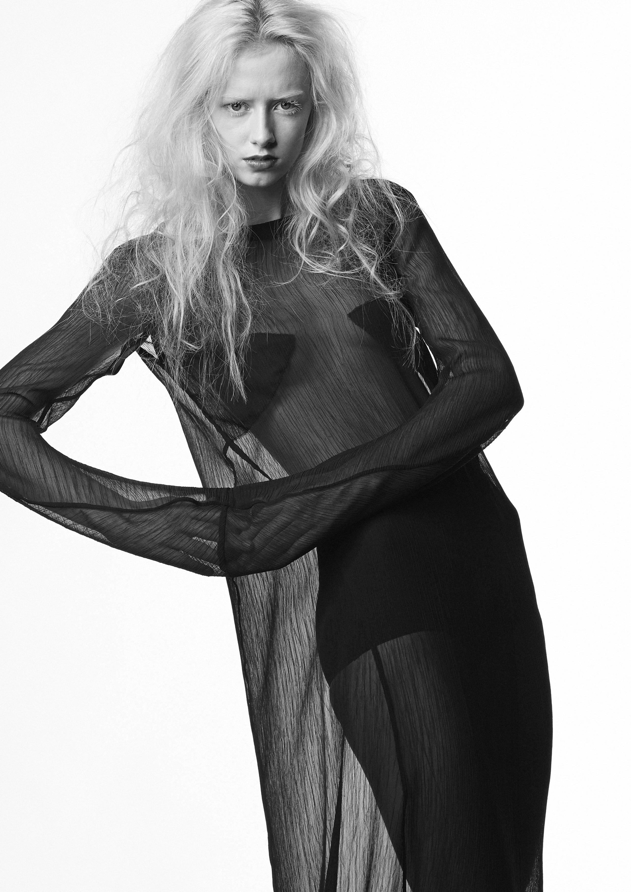 Skræddersyet chiffon sort kjole