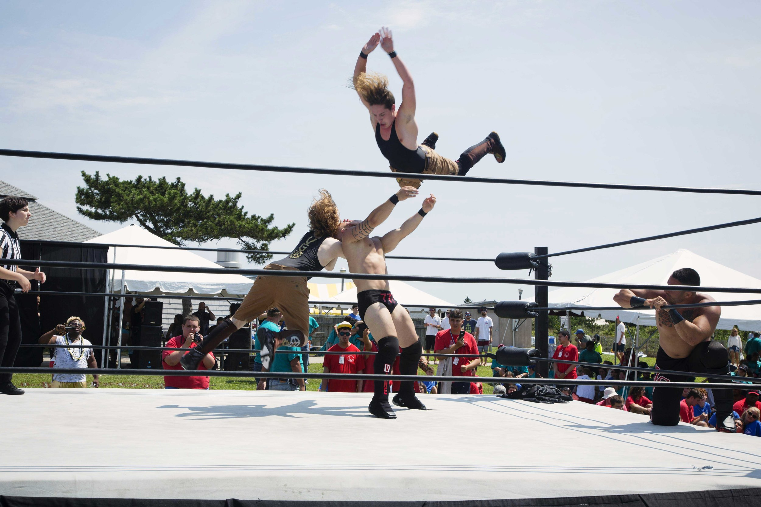 NYWC Wrestling Exhibition at Camp Anchor     In August of 2016 The Tommy Brull Foundation collaborated with The New York Wrestling Connection to bring this amazing exhibition to Camp ANCHOR in Lido Beach NY. The exhibition included a full size ring, a referee, and 15 professional wrestlers for an interactive show for all the children and adults at Camp ANCHOR. Click to picture to see hundreds of campers enjoy this great day.