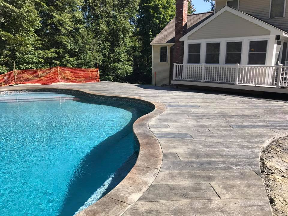 Concrete Pool Deck in Milford, New Hampshire