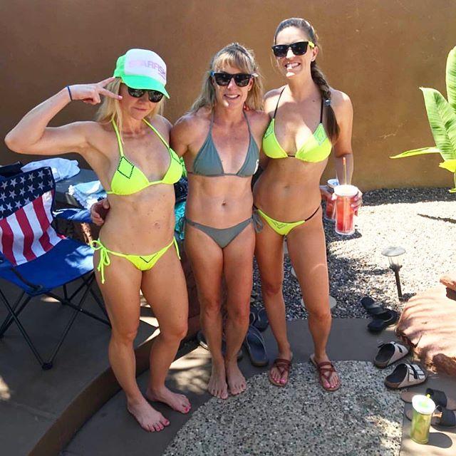 Custom bikinis for these party girls! @tonyaleroy @angiedeitch @amandafreick 💚💚💚 Who else LOVES neon??