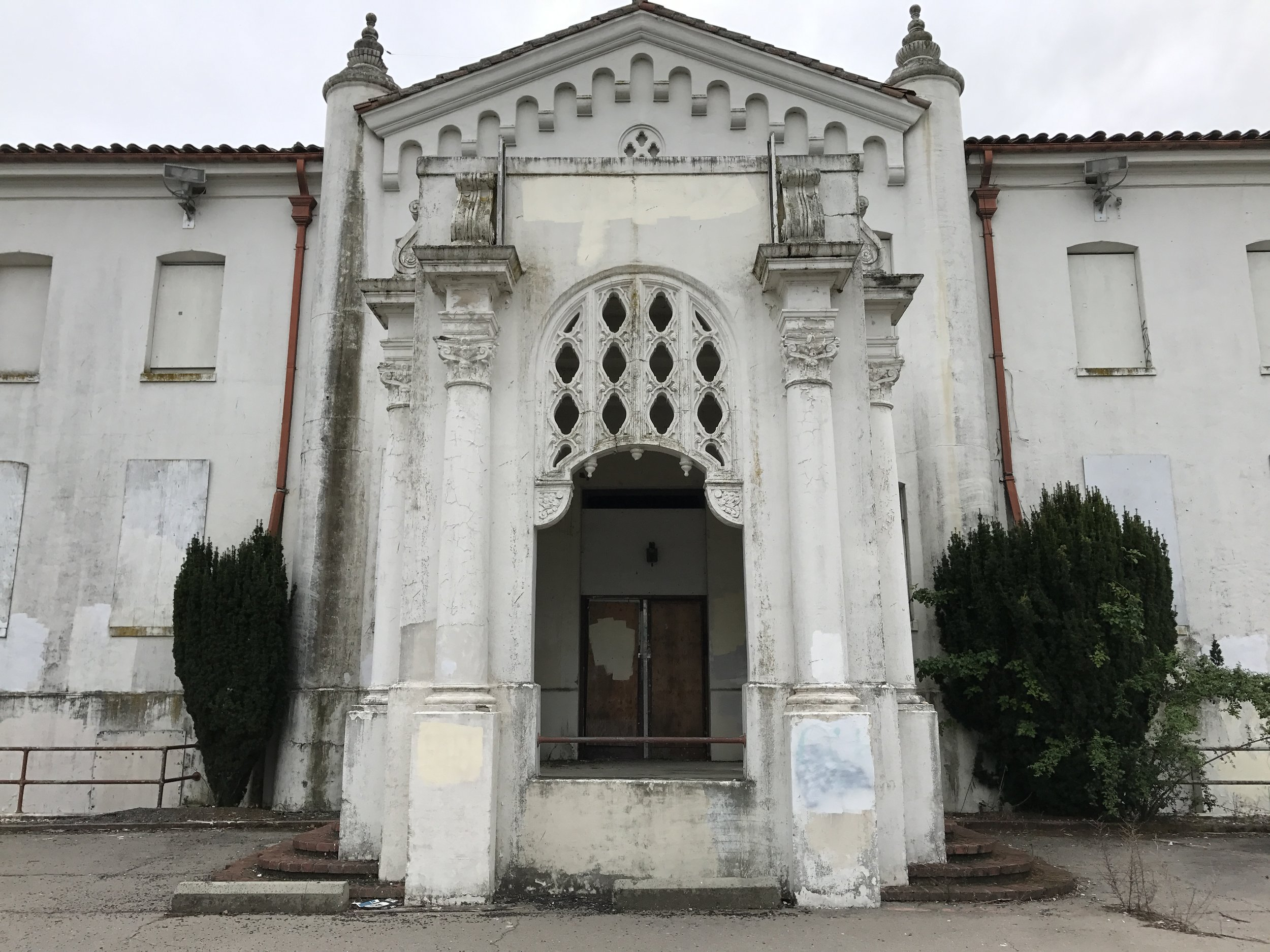 Look at this beautiful creature! Long neglected but never forgotten, this beautiful building is close to our home on a Military base that is no longer operational. We love going up to this area for family walks and to marvel at the buildings that have been decomissioned!