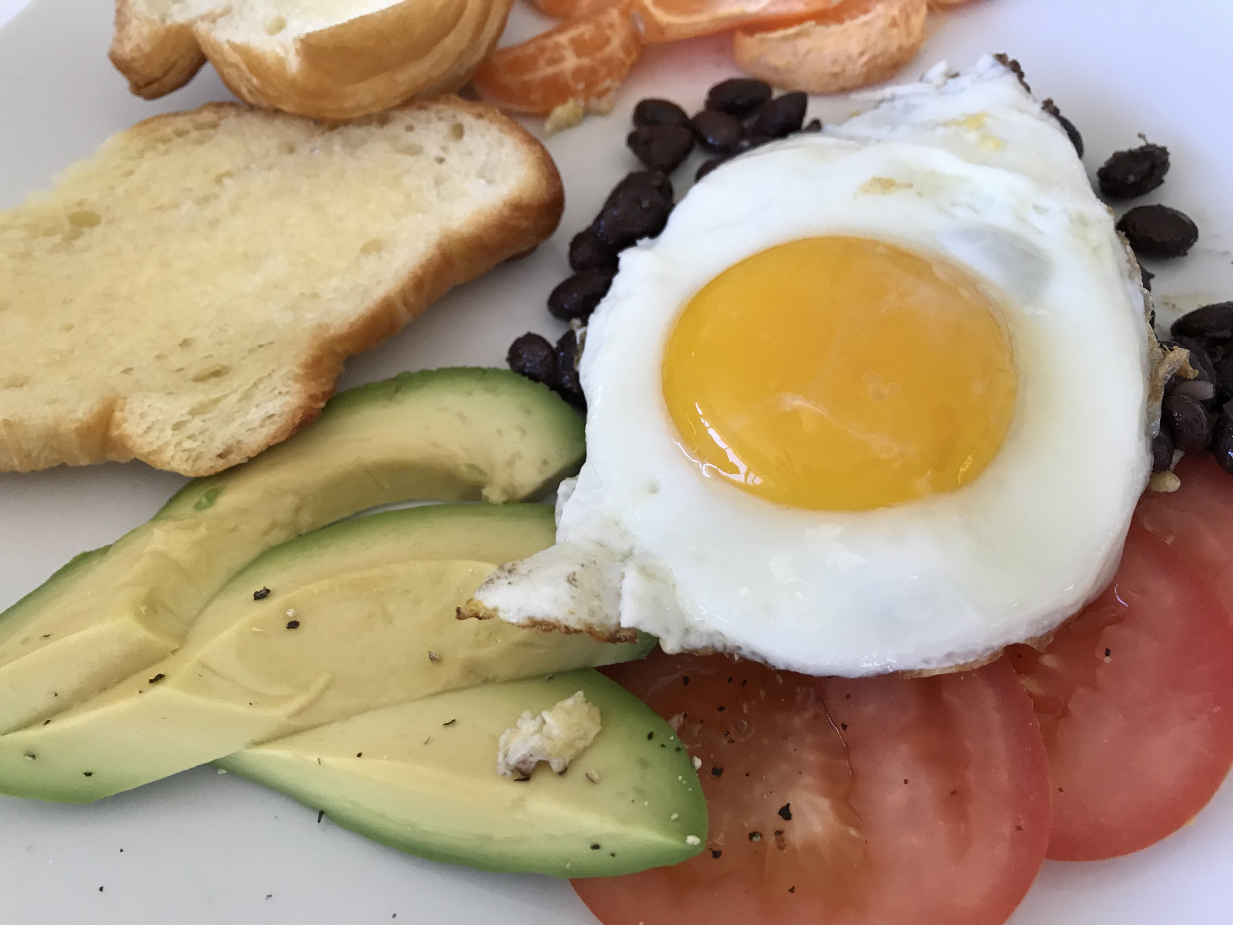 We had a lovley breakfast Saturday. Avocado, croissant, black beans, tomatos, oranges with a sunny side up egg!