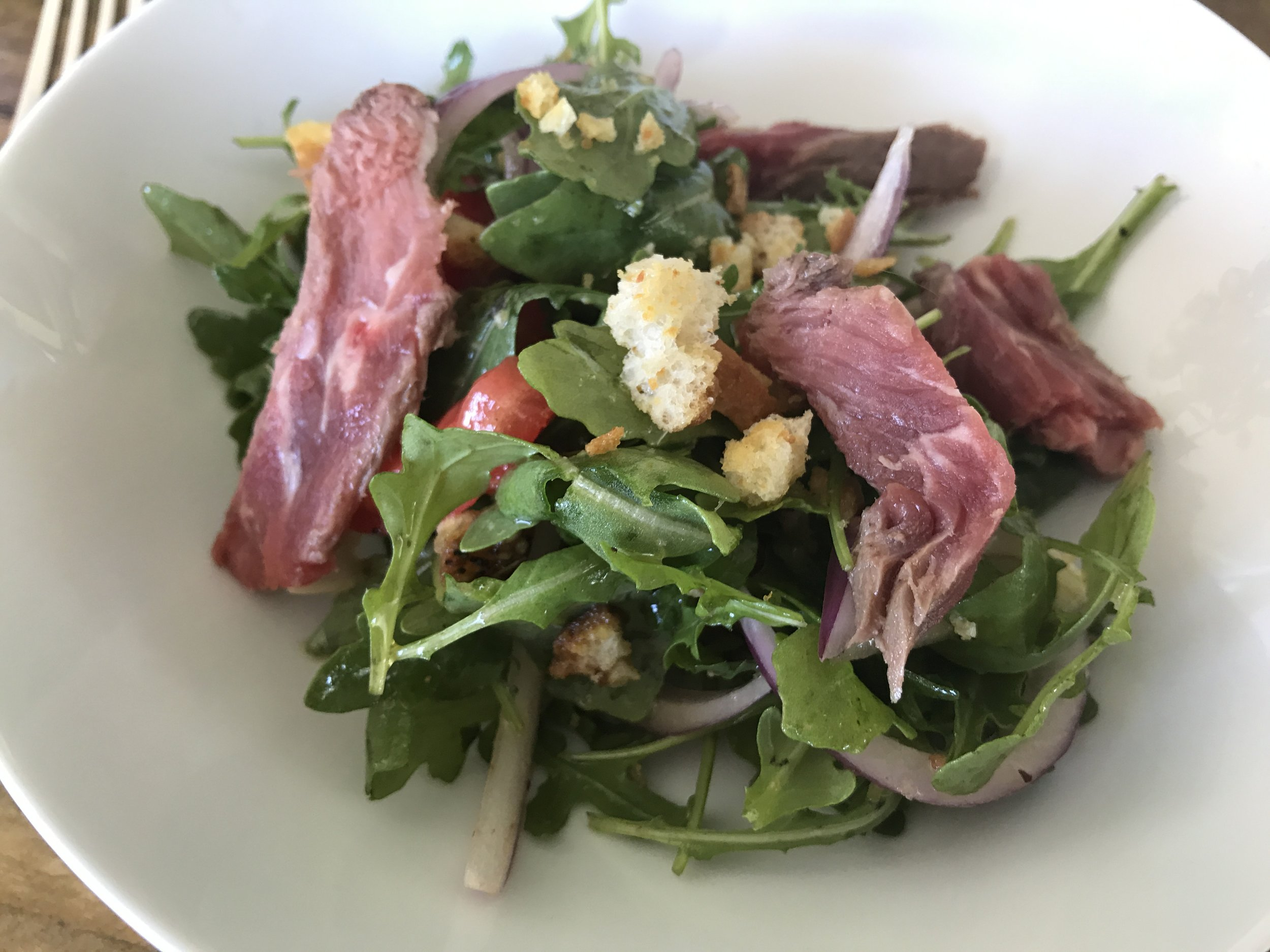 I love being able to use a cut of meat for several meals as opposed to just buying some for one! This is a cold beef salad my husband whipped up with the left over steak from Friday night! Wonderful lunch for us!