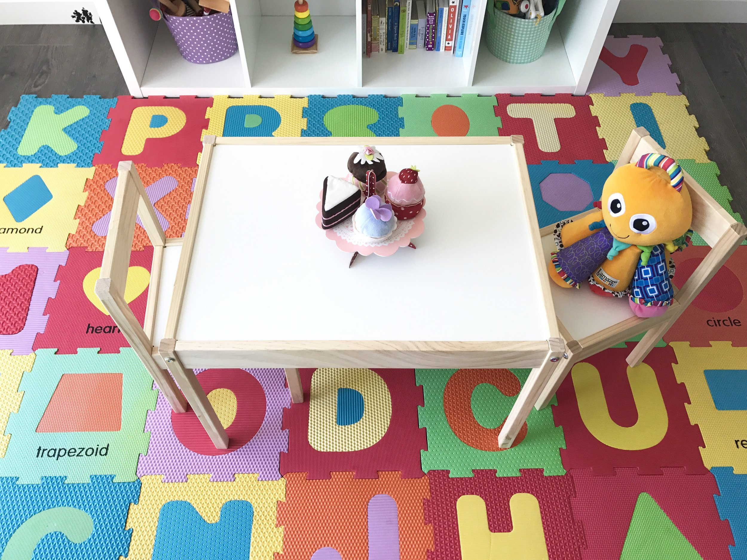 Amelia's play area has taken on a new purpose! As I dive more into researching Homeschooling (I'm going to be homeschooling Amelia until Kindergarten I've decided) and the montessori method, I've started making small changes to this area that she can learn to work and grow with. Pictured here is her new table and chairs I purchased from Ikea! This will serve as her snack table, learning area and play area all in one!