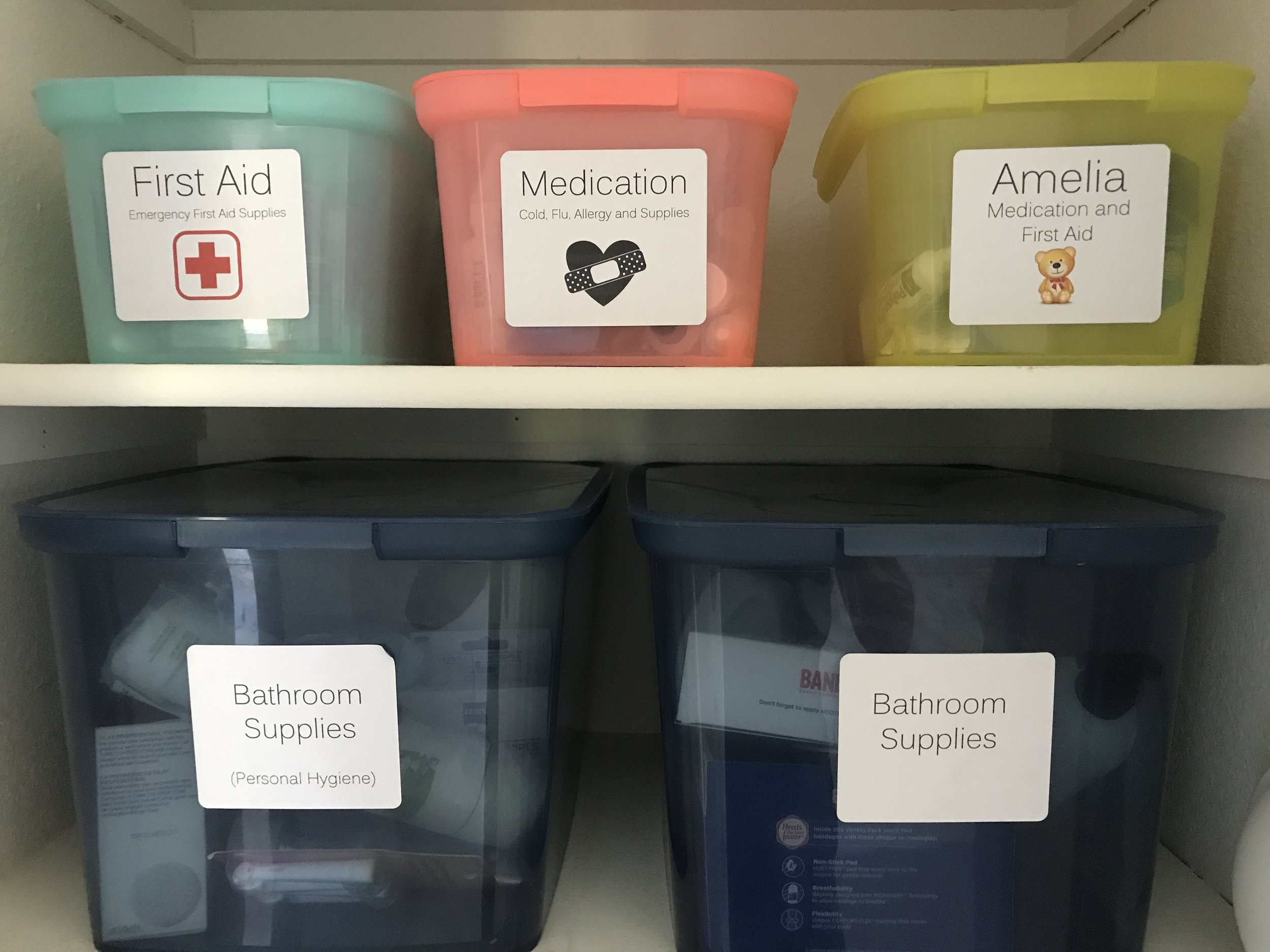 I spent some time each day of our vacation knocking some things off of a long term to do list! First up was fixing the labels on the medicine boxes in our hall closet. So glad to have that done!
