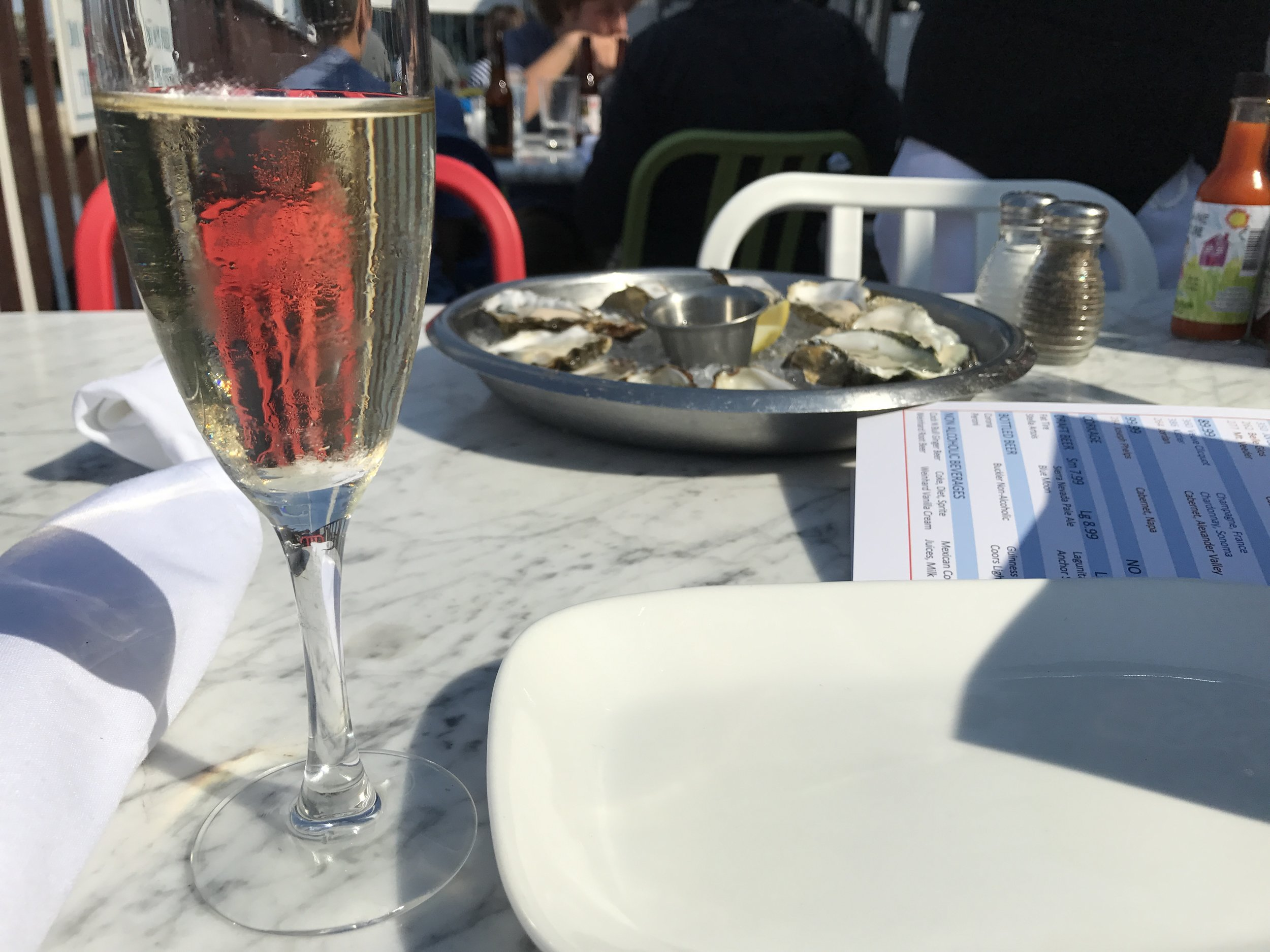 My Husband and I will always associate oysters and champagne with vacation!