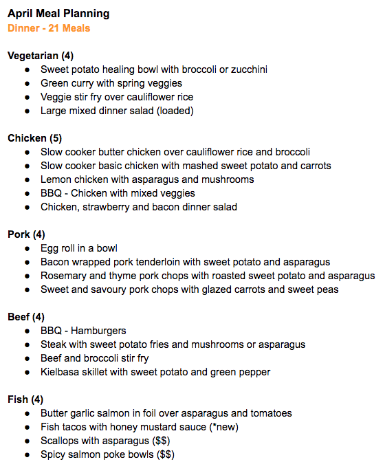 April meals (dinner)