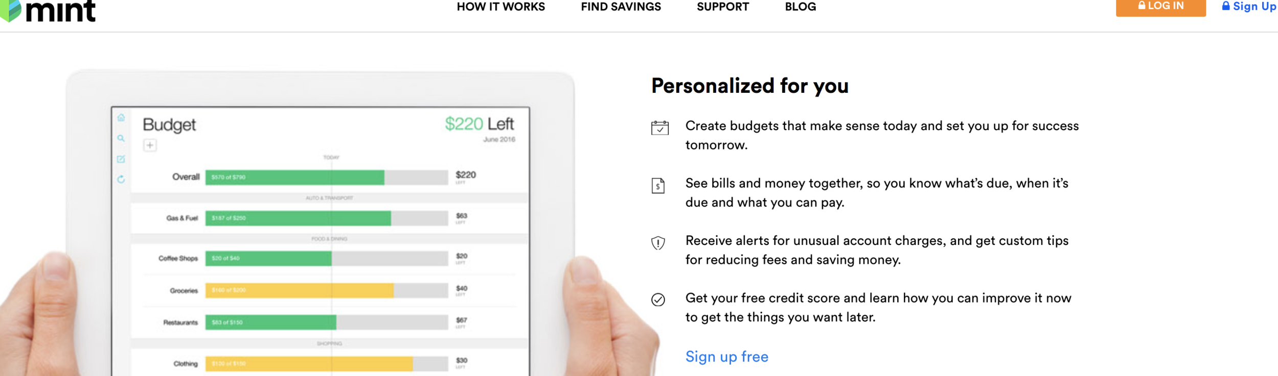 Mint: Monthly Budget