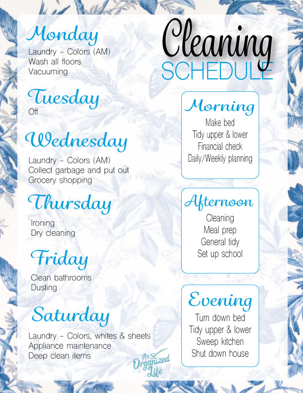 August cleaning schedule