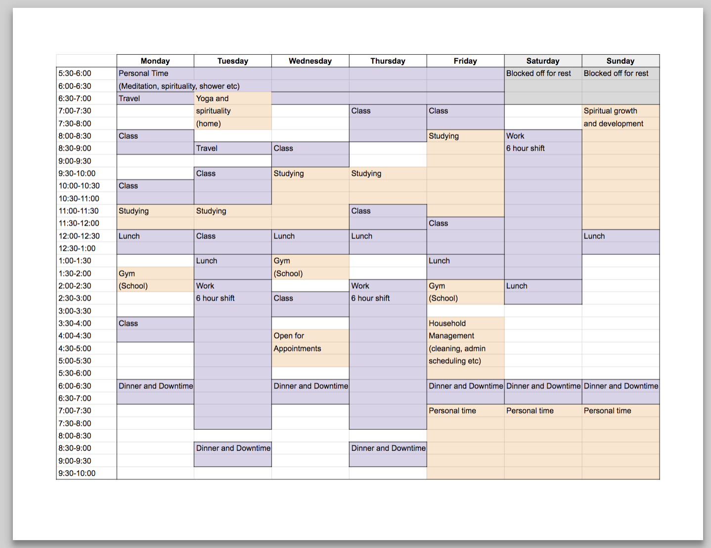 Example of student time block schedule