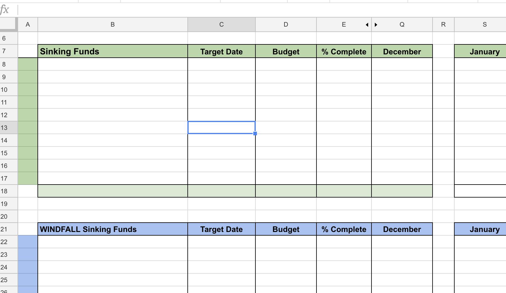 Sinking fund spreadsheet
