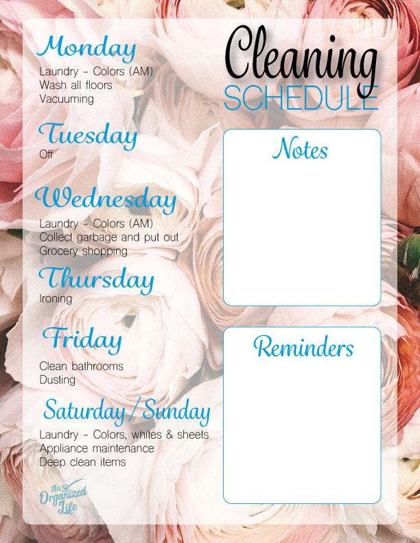 Lauren's cleaning schedule