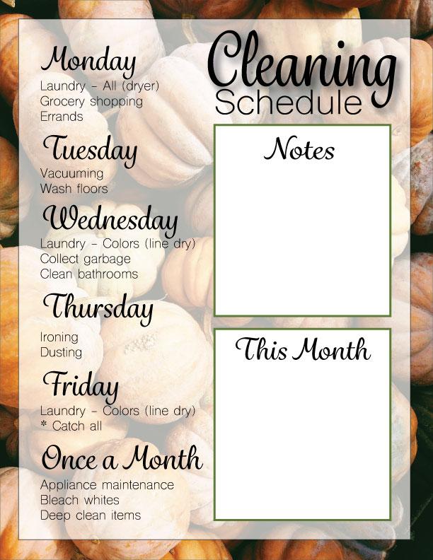 Lauren Fall 2019 cleaning schedule