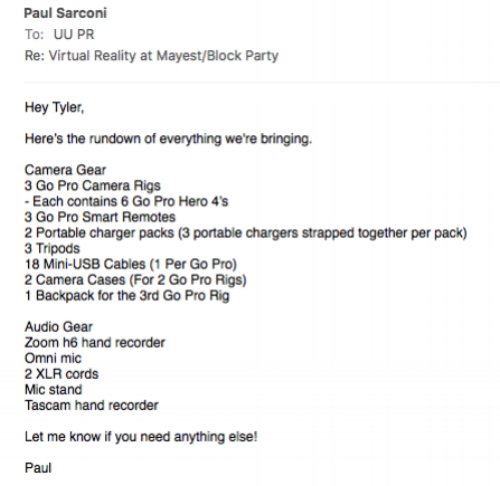 This is my email to Syracuse University's programming board regarding all the equipment we brought.
