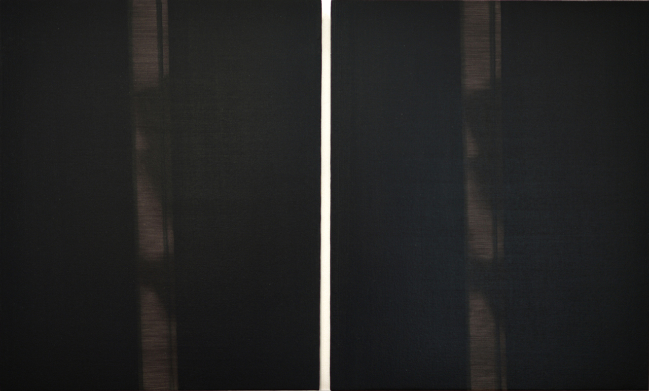 Double Shadow  2016 diptych; oil on canvas on panel 22 x 38 inches
