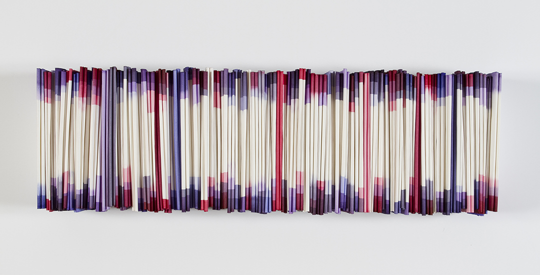 LUCE MEUNIER  Séquence (bleu/rouge)  2014 aqueous dispersion pigment and shellac on folded Arches paper 17 x 36 inches