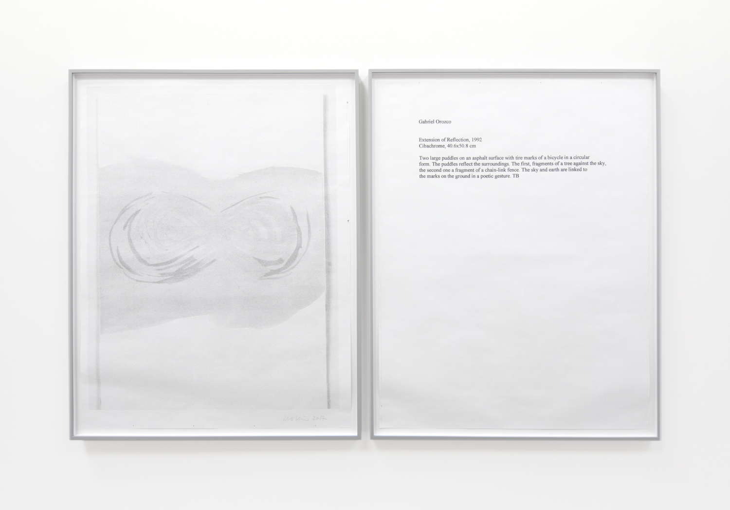 One Work with Footnote (Gabriel Orozco)   2015-2017 diptych; hybrid prints edition 1 of 1 36 x 29 inches each
