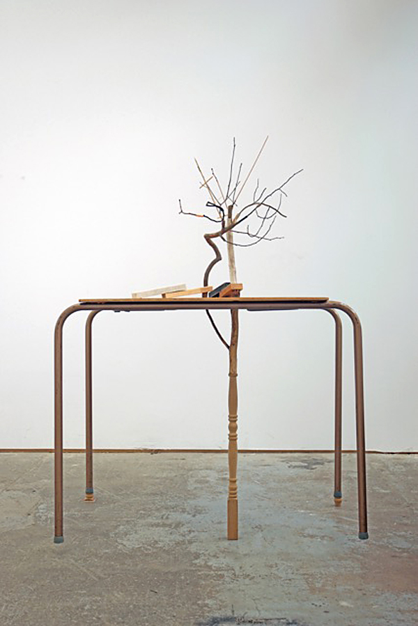 leter arber  2017 twigs and mixed wood products, marble, granite, table 52 x 37 x 30 inches