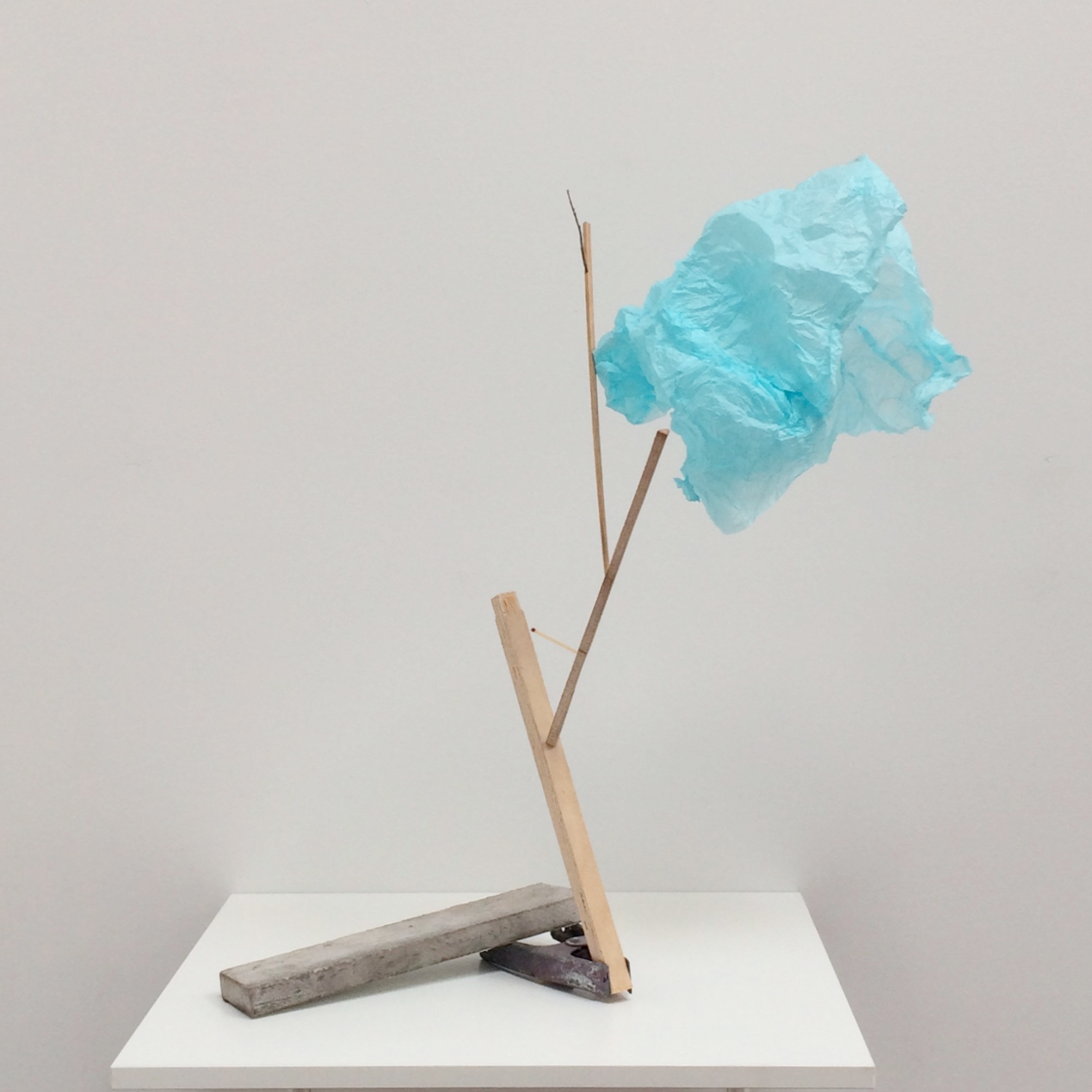 acot  2017 twigs, mixed media wood products, wrapping tissue, spring clamp, marble 22.25 x 24 x 18 inches
