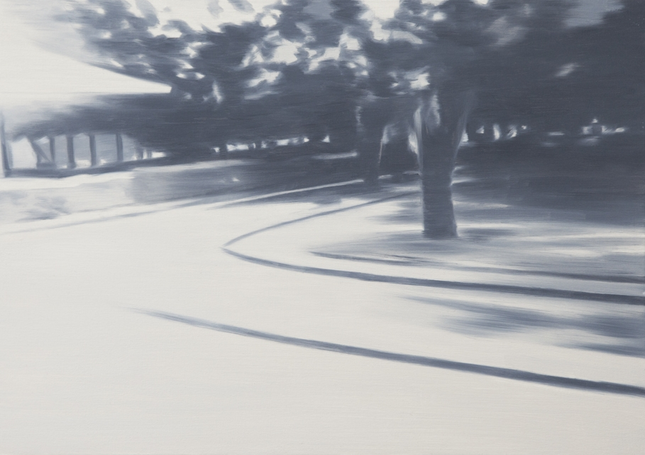 NICK OSTOFF  Roundabout (large fade)   2018 oil on canvas on panel 24 x 32 inches
