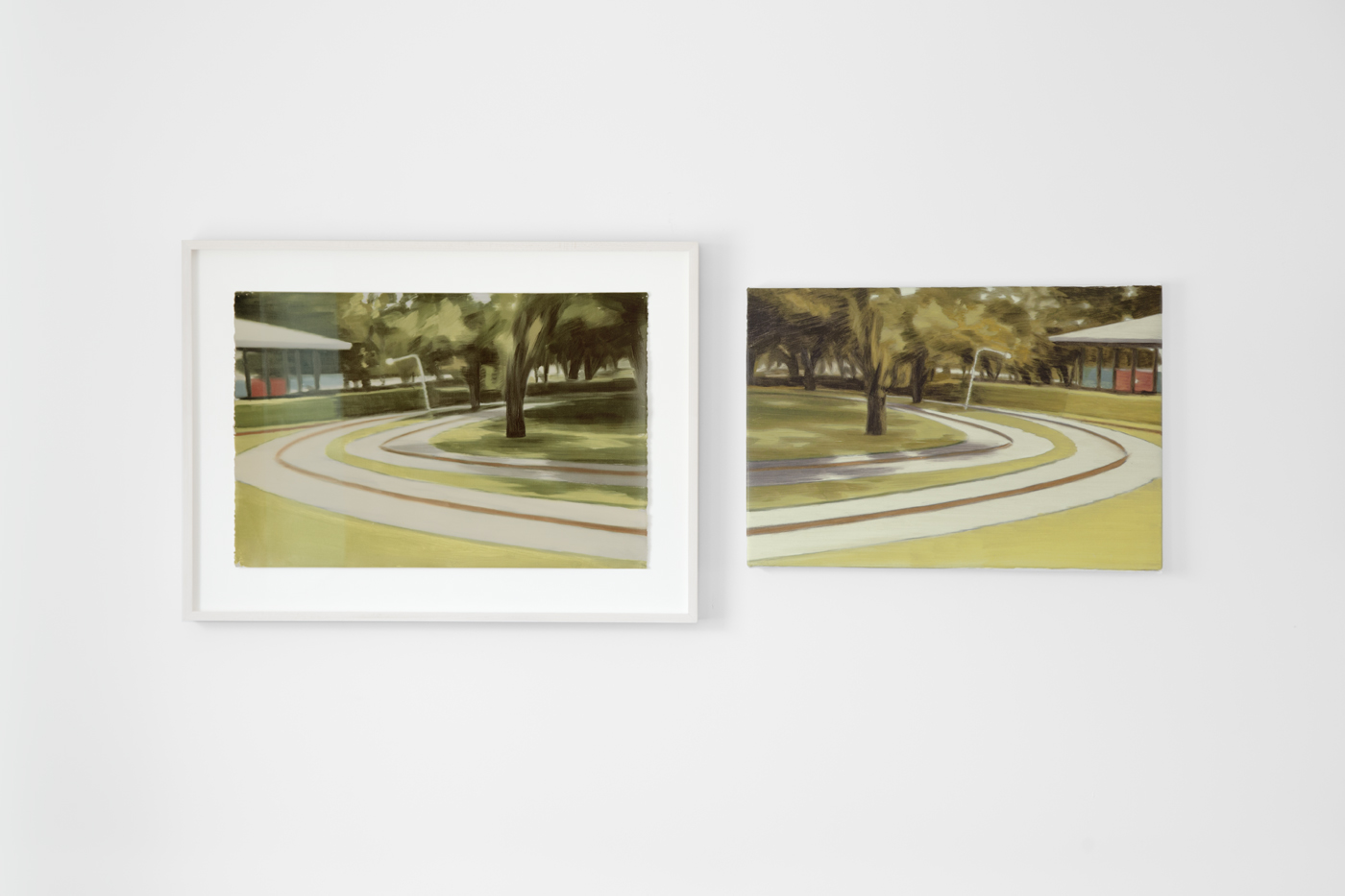 NICK OSTOFF  Roundabout (colour source mirror diptych)   2017 oil on paper; oil on canvas 26 x 55 inches installed