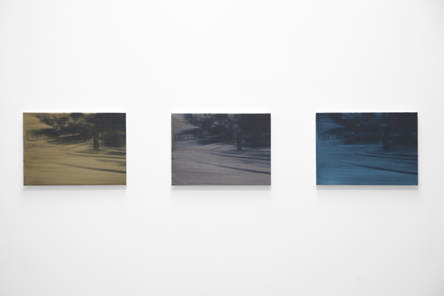 NICK OSTOFF  Roundabout (tri-colour fade)   2018 triptych; oil on canvas on panel 13 x 18 inches each