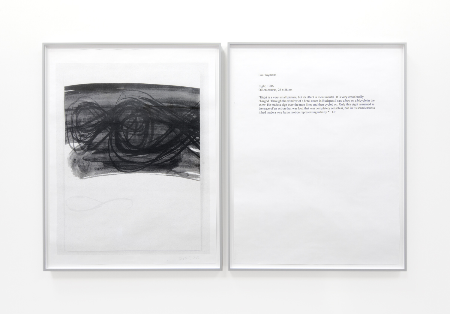 THERESE BOLLIGER  One Work with Footnote (Luc Tuymans 1)  2015-2017 diptych; hybrid prints edition 1 of 1 36 x 29 inches each
