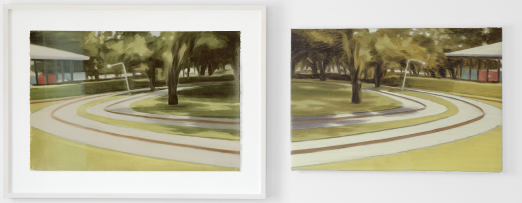 Roundabout (colour source mirror diptych) 2017 diptych; oil on paper, oil on canvas,  20 x 26inches; 15 x 22 inches $3,500.