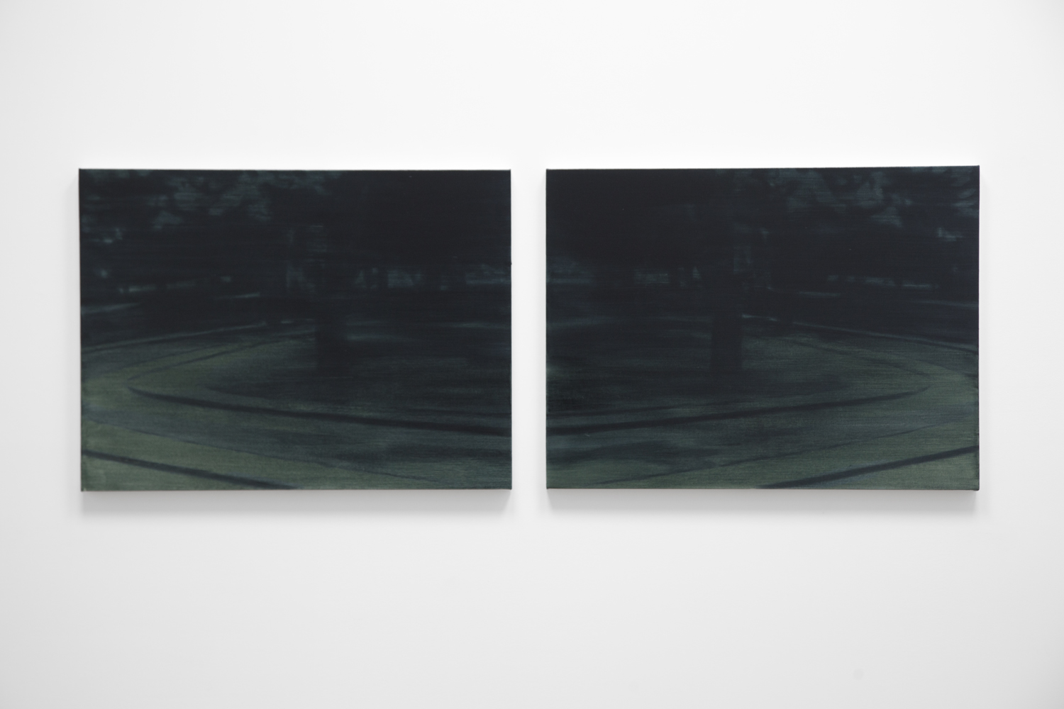 Roundabout (large dark mirror)  2018 diptych; oil on canvas on panel 30 x 40 inches each