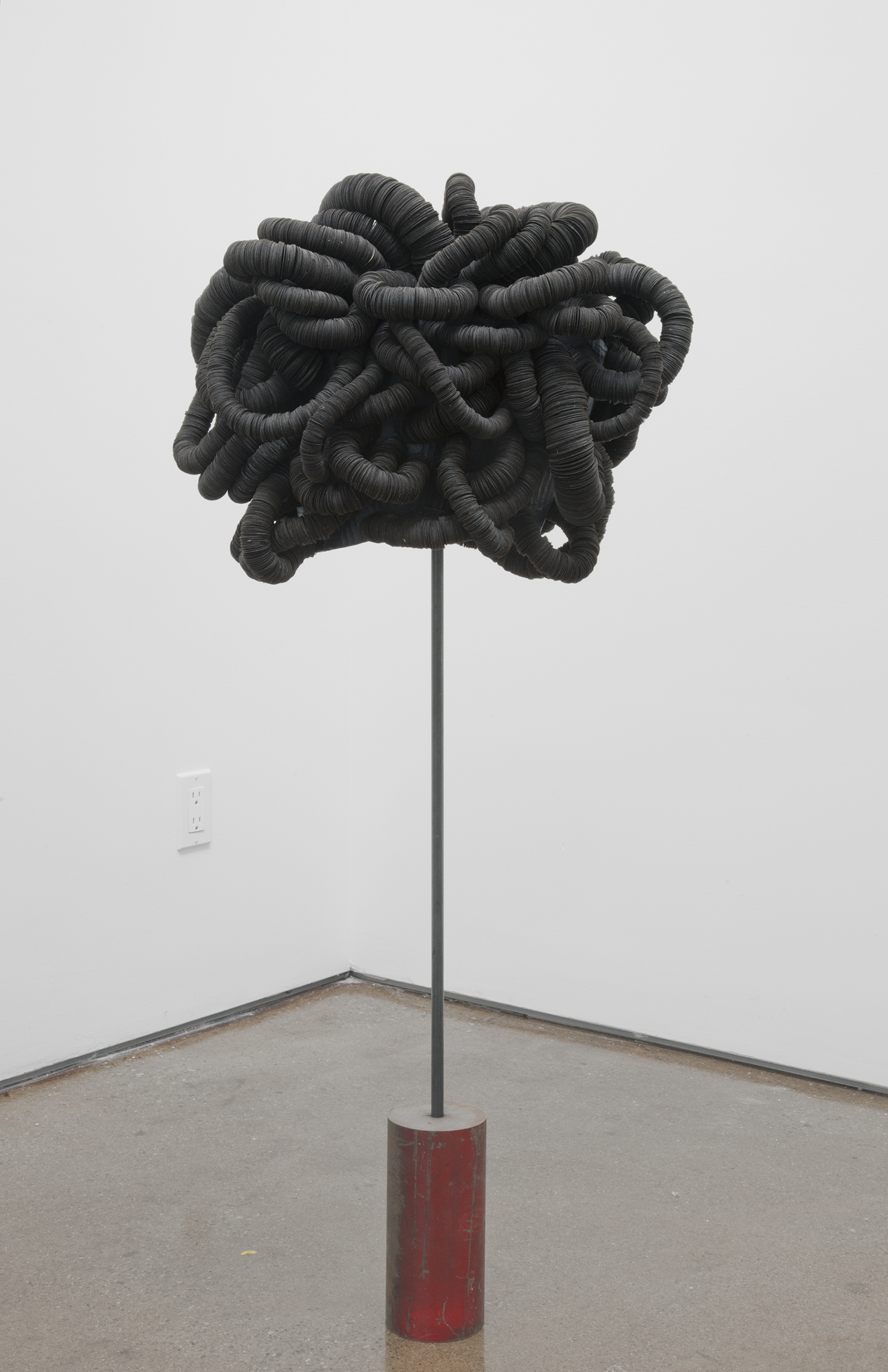 looped form  2017 tar paper, paper, wire, steel  48 x 20 x 12 inches