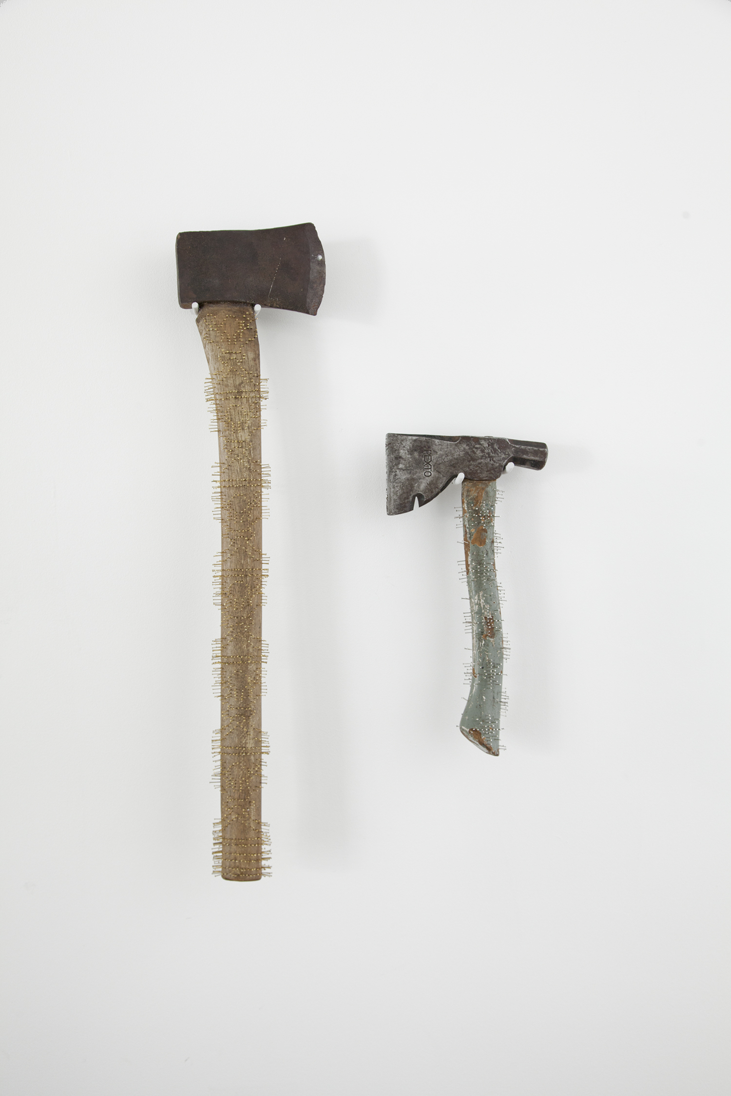 long axe  and  periwinkle axe  2017 found axes, straight pins 24 x 6 x 1.5 inches and 12 x 6.5 x 1.5 inches