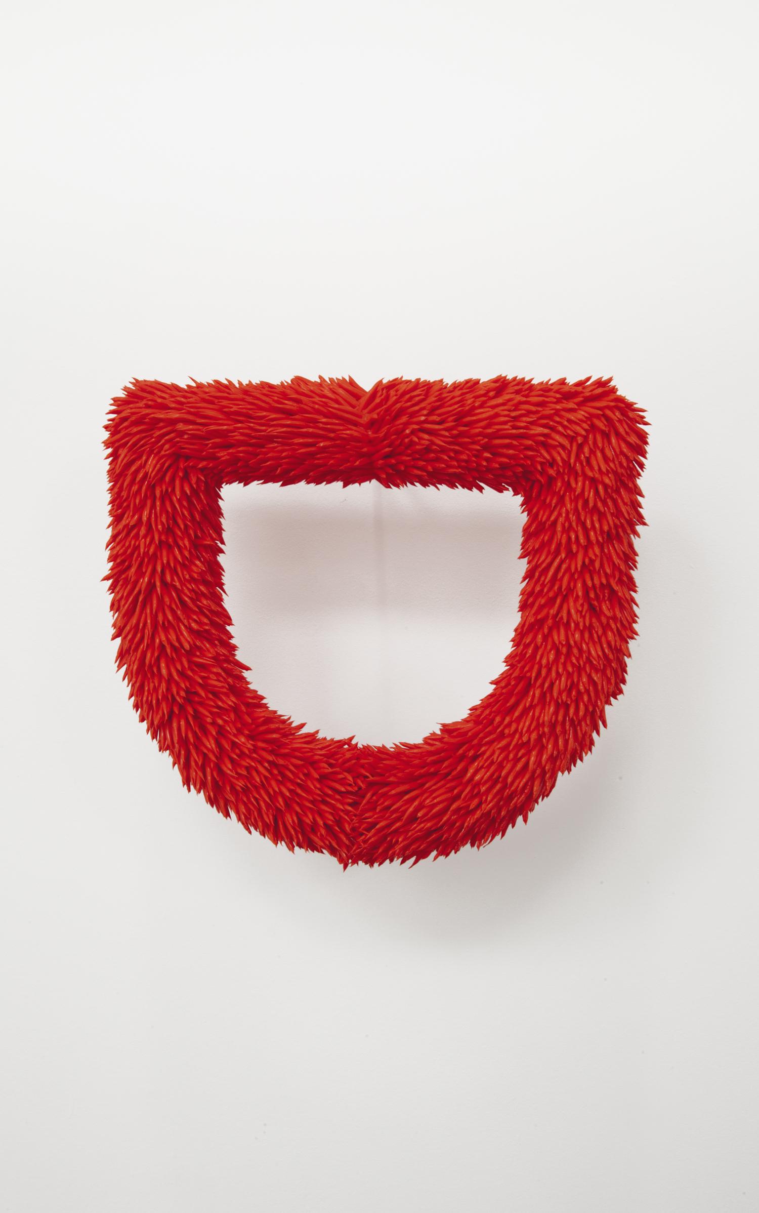 red fur  2018  acrylic, styrofoam, papier maché 12 x 13 x 2.5 inches