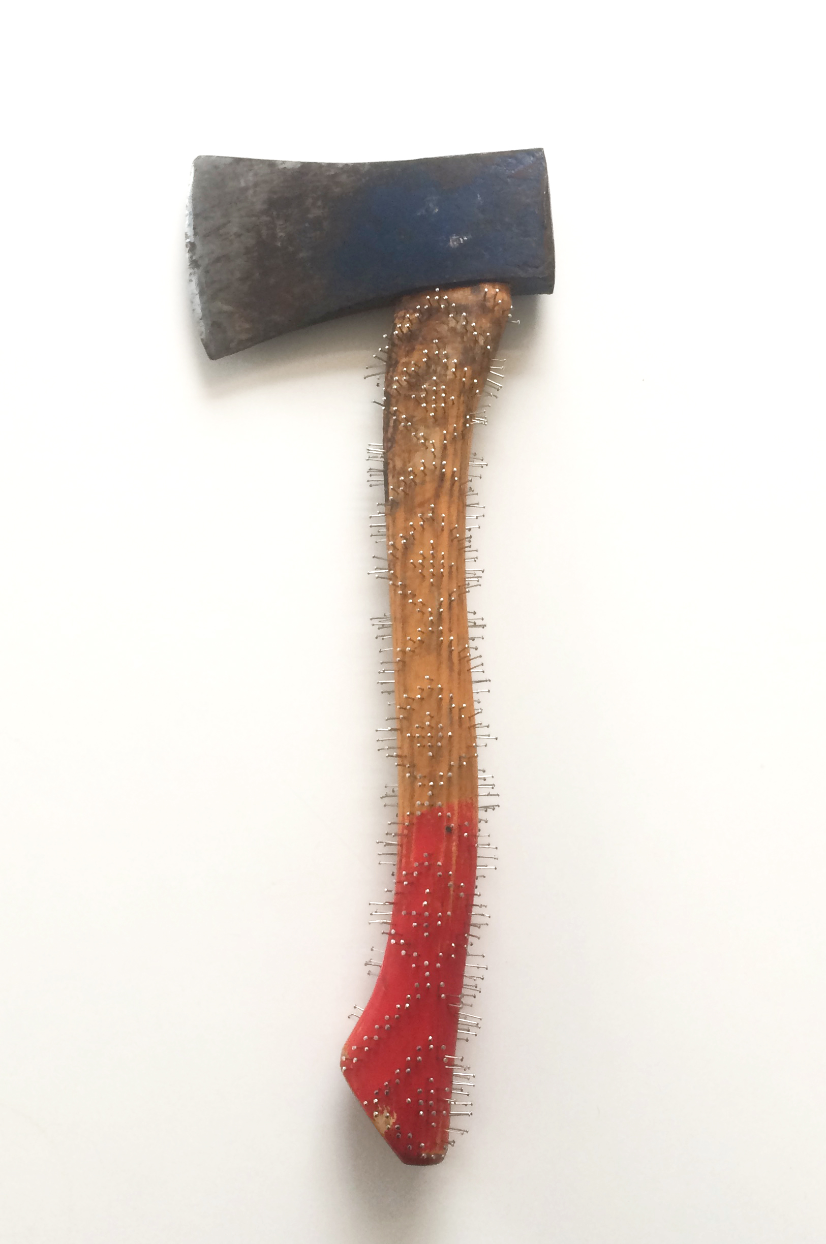 red end  2018   found axe, pins 13 x 19 inches