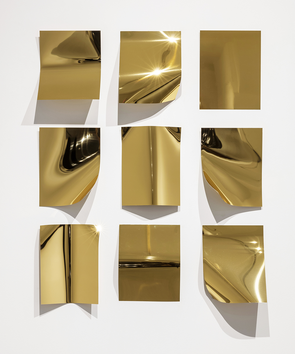 Ninefold  2016 9 elements; brass mirrored aluminum edition 1 of 2 37 x 29 inches
