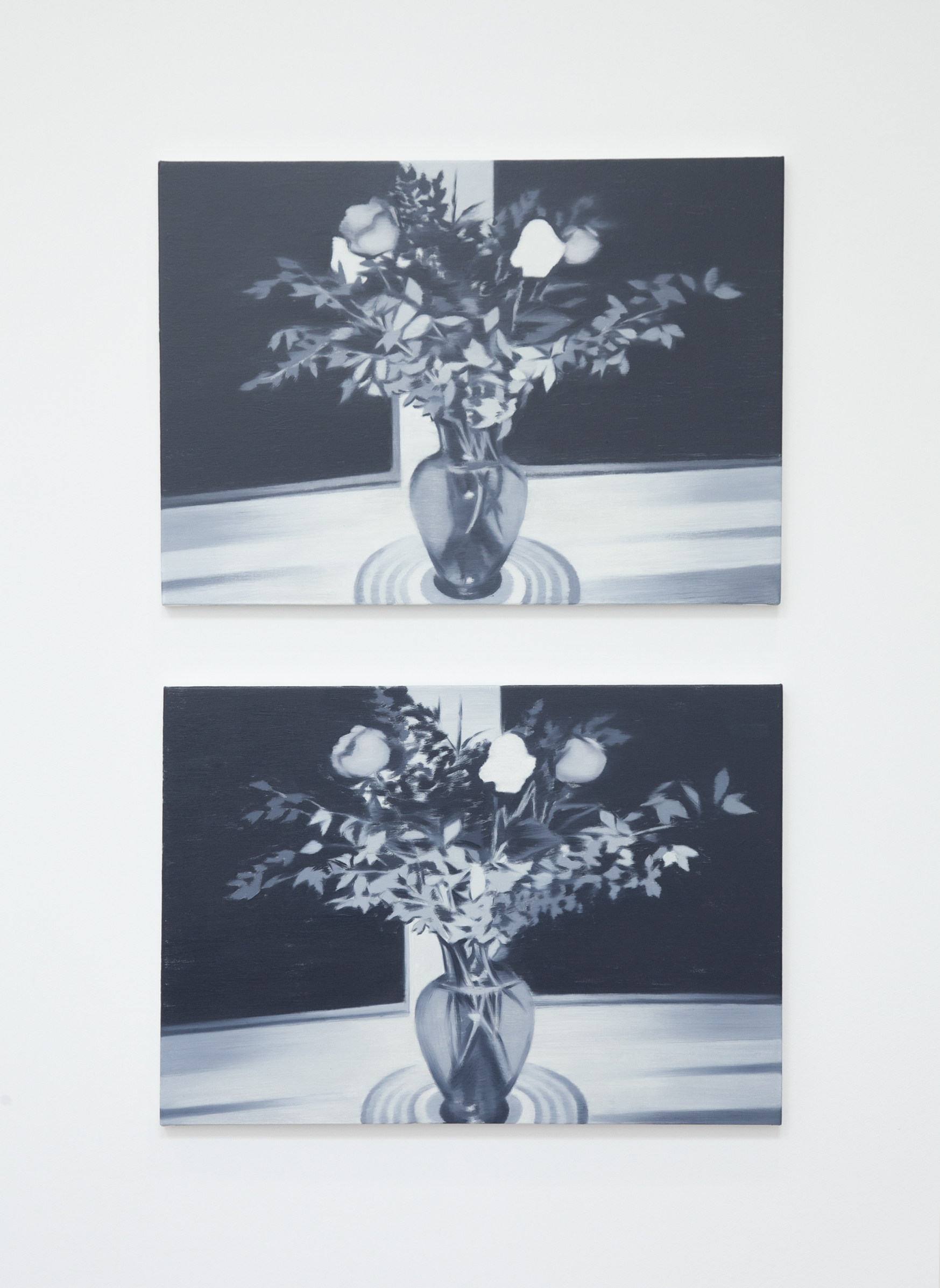 NICK OSTOFF  Bouquet (grisaille 1)  and  Bouquet (grisaille 2)  2019 oil on canvas on panel 18 x 26 inches each