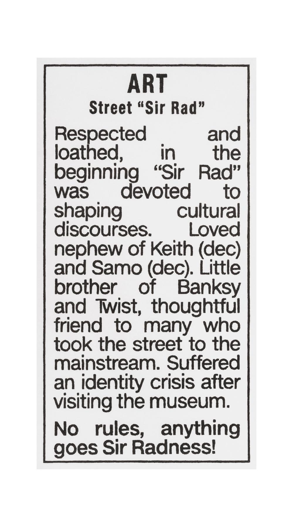 """ART, Street """"Sir Rad"""" 2018"""