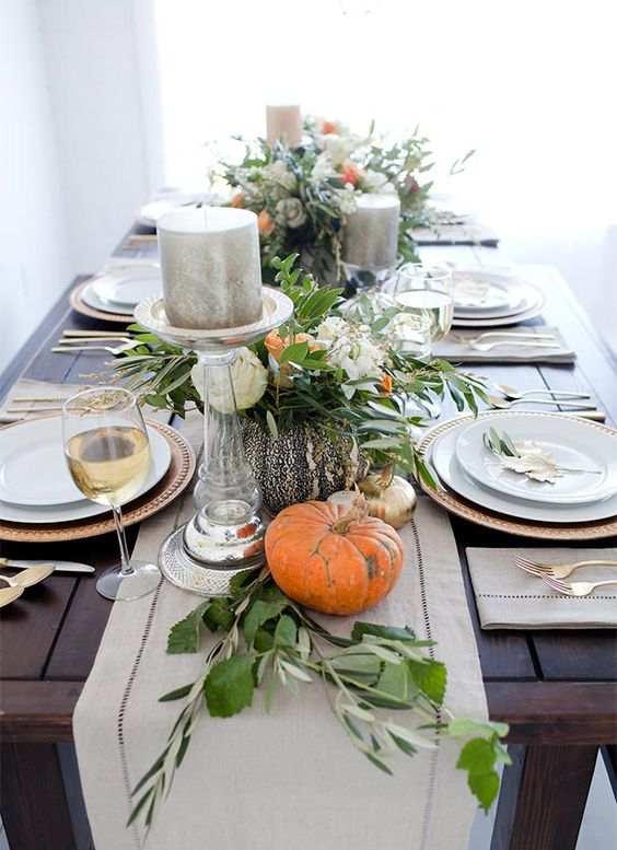 Picture by Pottery Barn Kids...Get a Runner, natural twigs, candles, and pumpkinsdisplay and you are done.