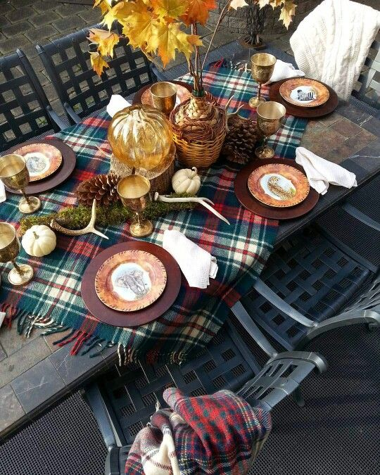 Picture by CanadianLiving.com...From Target Dollar Spot. Get your Blanket Scarf and use it as your Thanksgiving Table Runner. Perfection!!!
