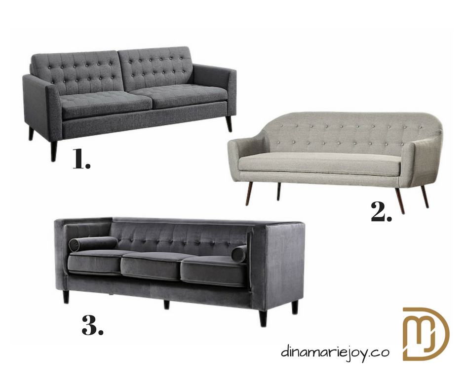 Three Gray Sofa's all under $700.00. Picked out by Dina Marie Joy.