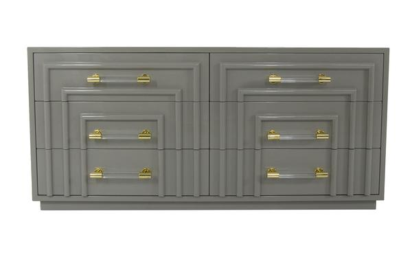 A Gray Dresser with Acrylic Handles for your Guest Room at your Vacation Home.  Designed by Dina Marie Joy.