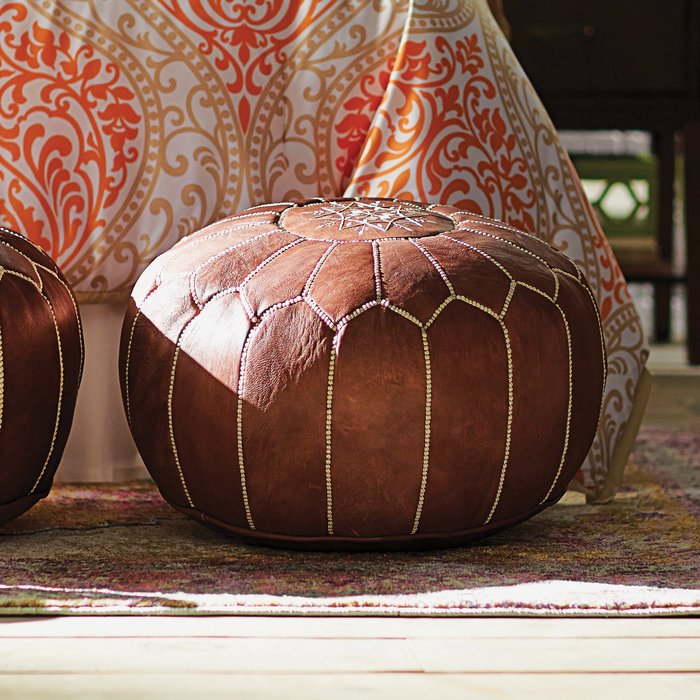 Brown Leather Pouf Option