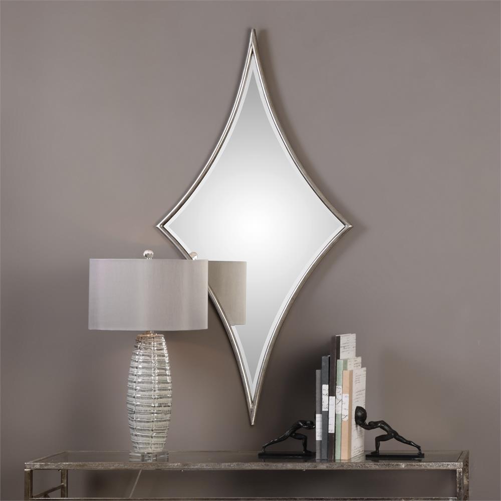 Isle Modern Classic Silver Diamond Iron Mirror