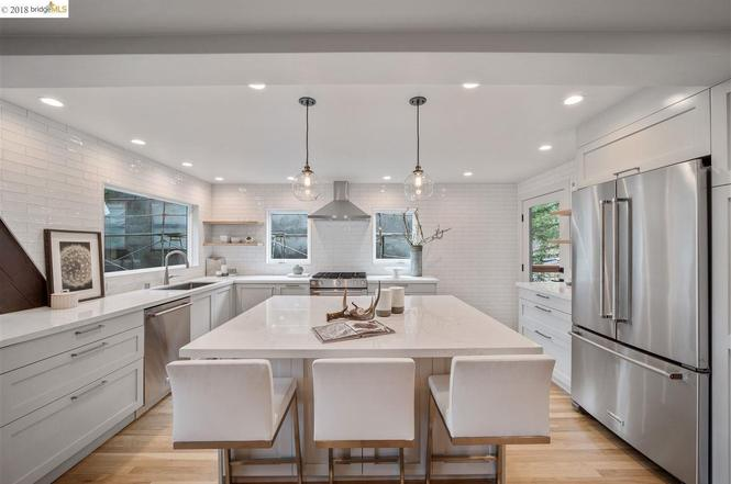 A Modern White Kitchen. E Design available at www.dinamariejoy.co