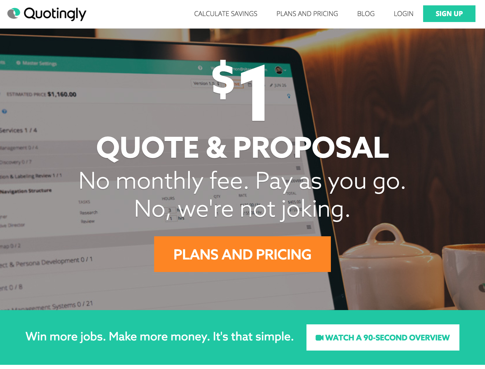 """Quotingly.com Landing Page - """"Watch a 90-Second Overview"""" appears in the bottom right."""