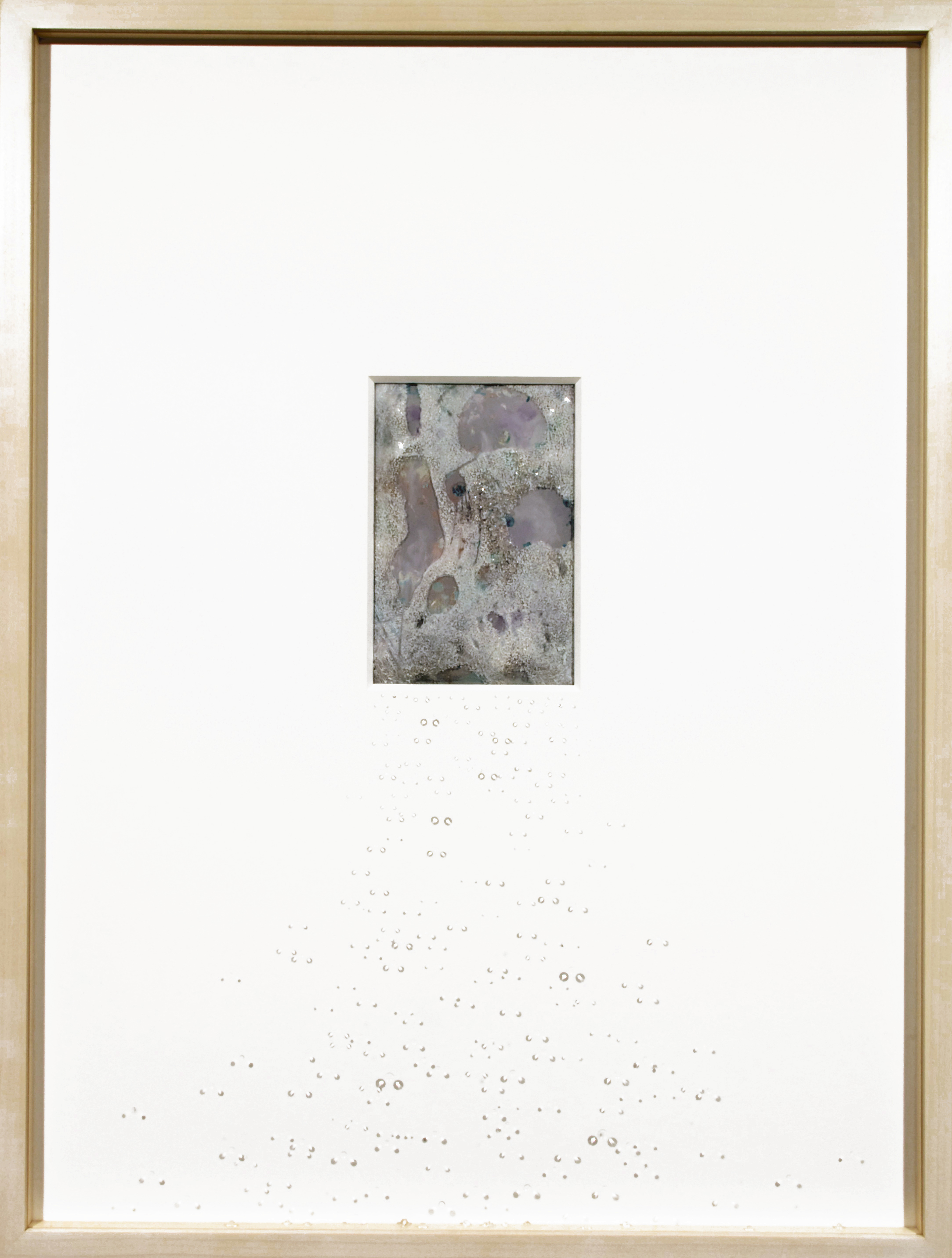 painting into...(XII) , paper, acrylic paint, and Herkimer diamonds in maple frame with glass, 18¾ x 24¾ x 1½ inches