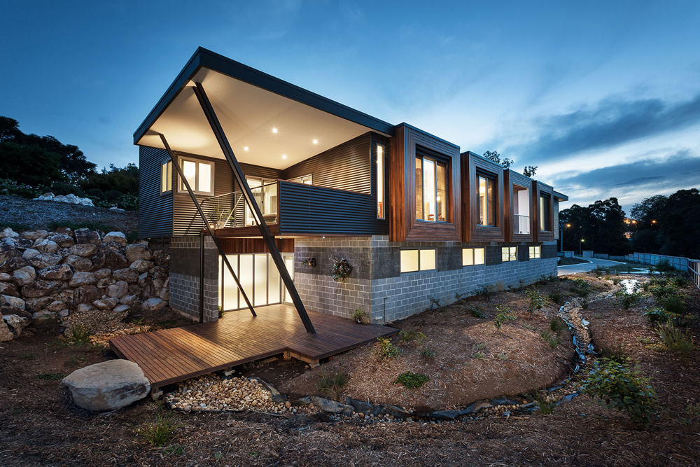 Outside of luxury ecofriendly family house in Warragul, Australia