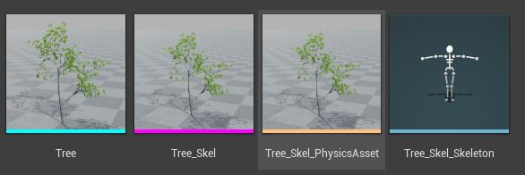 These are the assets required to physically simulate this tree.
