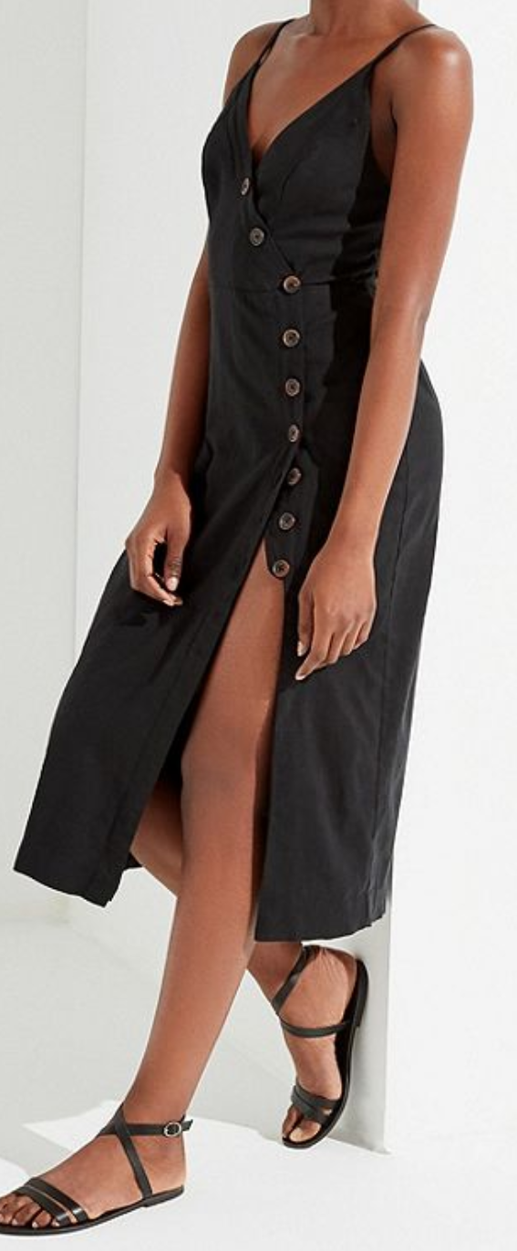Urban Outfitters - Amber Button-Down Linen Midi Dress $79.00