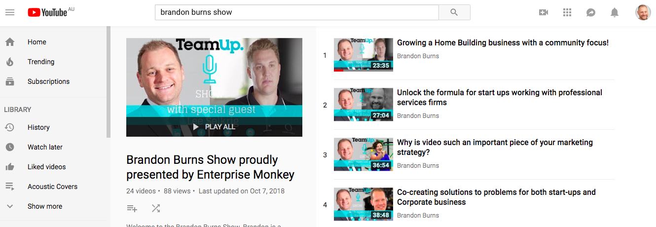 YouTube Channel - Our very own TV show fo you our client!