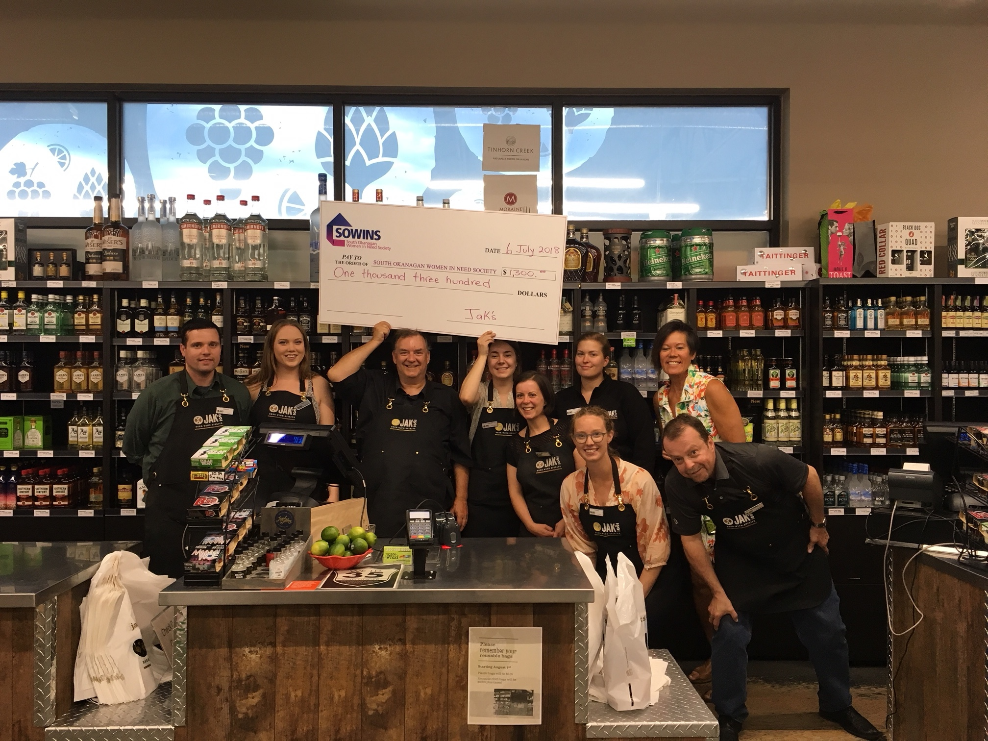JAK'S Beer Wine Spirits' raised $1,300 from their Annual Summer Celebration for SOWINS - July 14, 2018 Penticton Western News